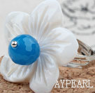 Faceted Blue Agate and White Shell Flower Adjustable Ring