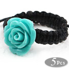 Wholesale 5 Pieces Lake Blue Color Imitation Turquoise Rose Flower Woven Drawstring Adjustable Ring