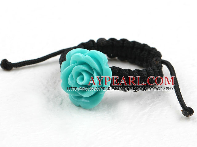 5 Pieces Lake Blue Color Imitation Turquoise Rose Flower Woven Drawstring Adjustable Ring