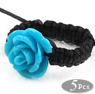 Wholesale 5 Pieces Blue Color Imitation Turquoise Rose Flower Woven Drawstring Adjustable Ring