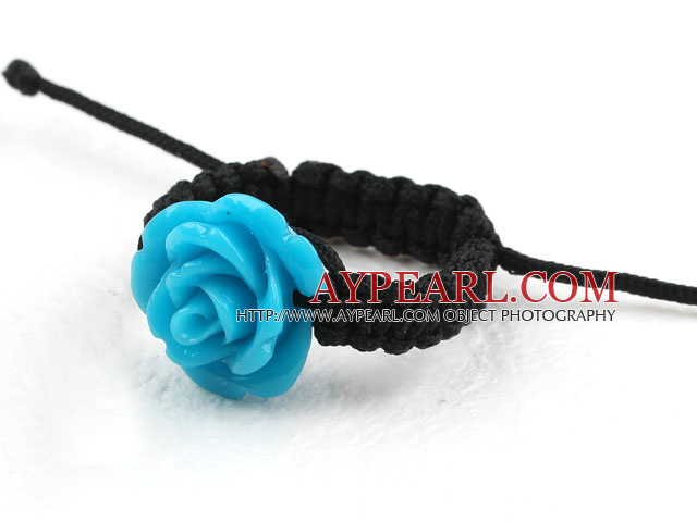 5 Pieces Blue Color Imitation Turquoise Rose Flower Woven Drawstring Adjustable Ring