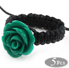 Wholesale 5 Pieces Dark Green Color Imitation Turquoise Rose Flower Woven Drawstring Adjustable Ring