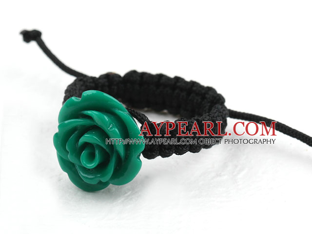 5 Pieces Dark Green Color Imitation Turquoise Rose Flower Woven Drawstring Adjustable Ring