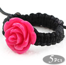 Wholesale 5 Pieces Hot Pink Color Imitation Turquoise Rose Flower Woven Drawstring Adjustable Ring