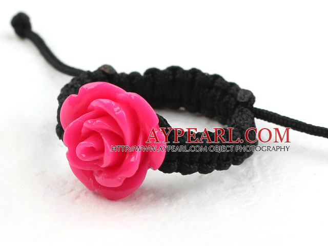 5 Pieces Hot Pink Color Imitation Turquoise Rose Flower Woven Drawstring Adjustable Ring