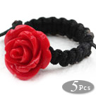 Wholesale Red Color Imitation Turquoise Rose Flower Woven Drawstring Adjustable Ring