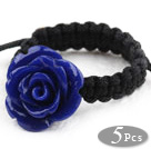 Wholesale 5 Pieces Dark Blue Color Imitation Turquoise Rose Flower Woven Drawstring Adjustable Ring