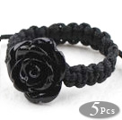 Wholesale 5 Pieces Black Imitation Turquoise Rose Flower Woven Drawstring Adjustable Ring