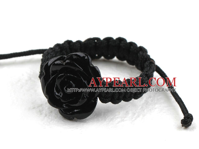 5 Pieces Black Imitation Turquoise Rose Flower Woven Drawstring Adjustable Ring