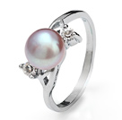 Fashion Natural 6-7mm Purple Freshwater Pearl Ring With Charming Rhinestone