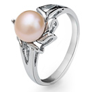 Fashion Natural 6-7mm Pink Freshwater Pearl Ring With Charming Rhinestone