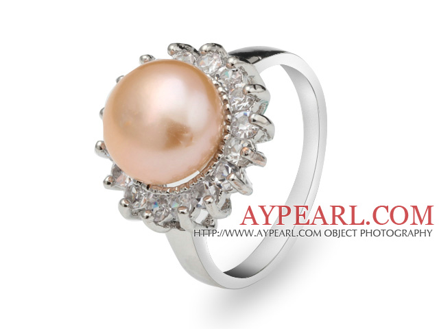 Classic Natural 8-9mm Pink Freshwater Pearl Ring With Charming Rhinestones