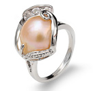 Fashion Natural 9-11mm Pink Blister Pearl Ring With Charming Rhinestone