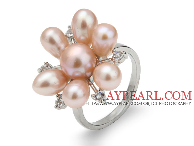 Beautiful Natural 5-6mm Pink Freshwater Pearl Flower Ring With Charming Rhinestone