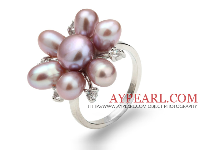 Beautiful Natural 5-6mm Purple Freshwater Pearl Flower Ring With Charming Rhinestone