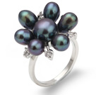 Beautiful Natural 5-6mm Black Freshwater Pearl Flower Ring With Charming Rhinestone