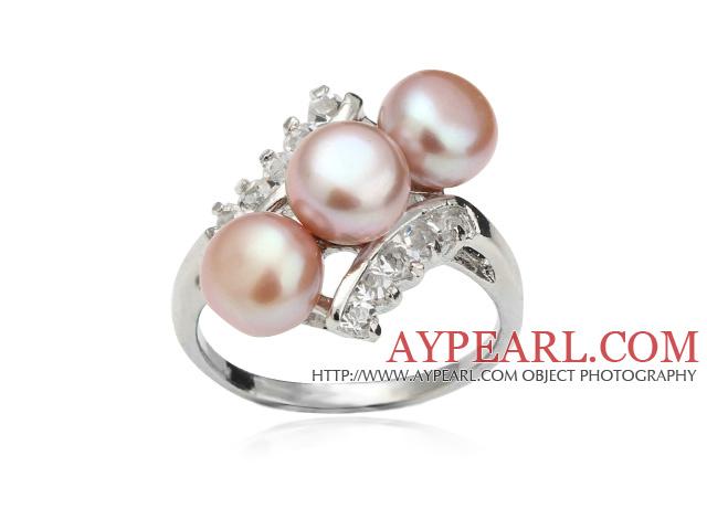 Wonderful Natural 6-7mm Purple Freshwater Pearl Ring With Charming Rhinestone