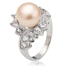 Classic Natural 8-9mm Pink Freshwater Pearl Ring With Charming Rhinestone