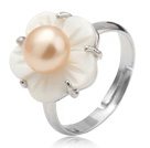 Nice Natural 5-6mm Pink Freshwater Pearl And White Shell Flower Adjustable Ring