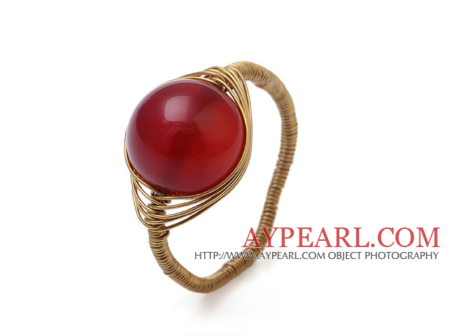 Beautiful 12mm Round Red Agate Ball Layer Copper Wired Crochet Ring