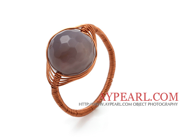 Fashion 12mm Round Faceted Gray Agate Ball Layer Copper Wired Crochet Ring