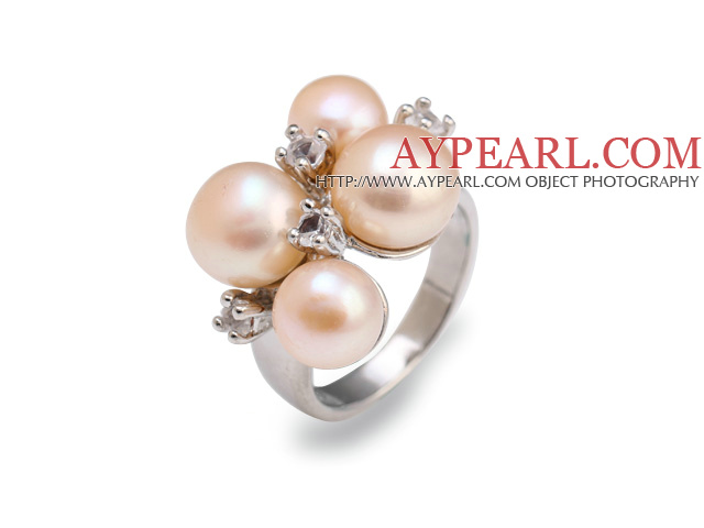Fashion 7-9mm Natural Pink Freshwater Pearl Metal Ring With Charming Rhinestone