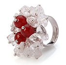 Lovely Handmade Cluster Style White Crystal And Round Red Agate Adjustable Metal Ring