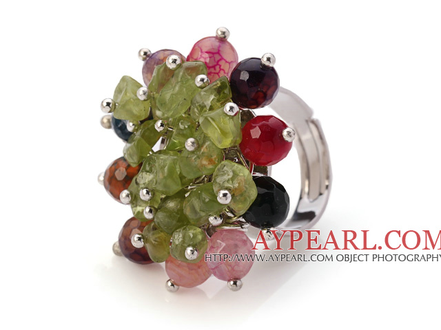 Lovely Handmade Cluster Style Multi Round Agate And Green Olive Chips Adjustable Metal Ring
