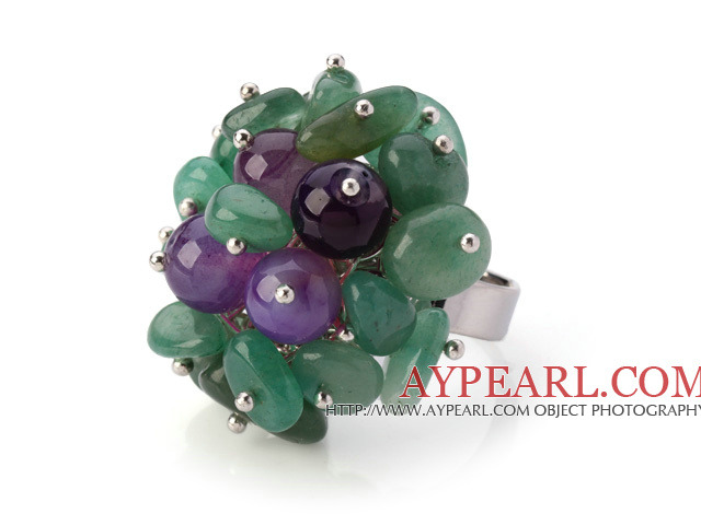Lovely Handmade Cluster Style Aventurine And Round Purple Agate Adjustable Metal Ring