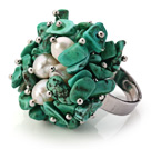 Lovely Handmade Cluster Style Green Turquoise Chips And White Pearl Adjustable Metal Ring
