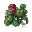 Summer Lovely Style Round Green Jade and Glaze Beads Adjustable Ring
