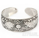 Fashion Style Carved Dragon Pattern Bold Adjustable Metal Bangle Bracelet