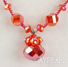 red color Czech crystal necklace with magnetic clasp