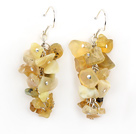Fashion Cluster Style Chipped Yellow Olive Stone Dangle Earrings With Fish Hook
