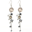 Assorted Gray Series Manmade Crystal and Smoky Quartz Flower Earrings