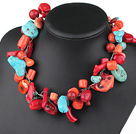 handwaved multi strand blue turquoise red coral necklace