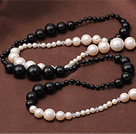 Elegant Long Style White Freshwater Pearl and Black Agate Beads Necklace