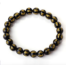 8mm Single Strand Round Black Chalcedony Beaded Stretchy Bracelet with Printed Words