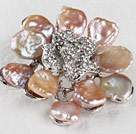 beautiful rose shape reborn pearl  brooch with rhinestone