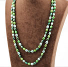 Long Style Green Color Freshwater Pearl Beaded Spring Necklace