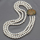 Three Strands 8-9mm Natural White Freshwater Pearl Beaded Necklace with Stone Clasp
