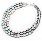 Gray Series Three Strands Oval Shape Rebirth Pearl and Black Crystal Necklace