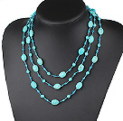 59.8 inches long style blue crystal and turquoise necklace