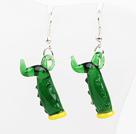 Nice Worm Shape Green Colored Glaze Dangle Earrings With Fish Hook