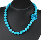 noble round turquoise beaded necklace with spring ring clasp