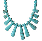 Lovely Design Blue Turquoise Beads Necklace with Fun Shape Turquoise Accessory