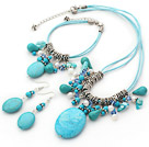 Fashion Mixed Blue Turquoise White Freshwater Pearl Blue Crystal Set (Necklace Bracelet With Matched Earrings)