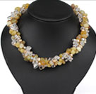 Multi Strands Yellow Series Yellow Opal and Pearl and Clear Crystal Necklace