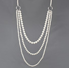 Long Style Three Layer White Freshwater Pearl Fashion Necklace