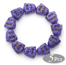5 Pieces Dyed Purple Color Turquoise Maitreya Buddha Head Stretch Bangle Bracelets